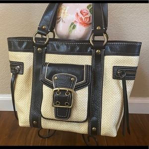 Authentic Coach Straw tote with Leather Trim